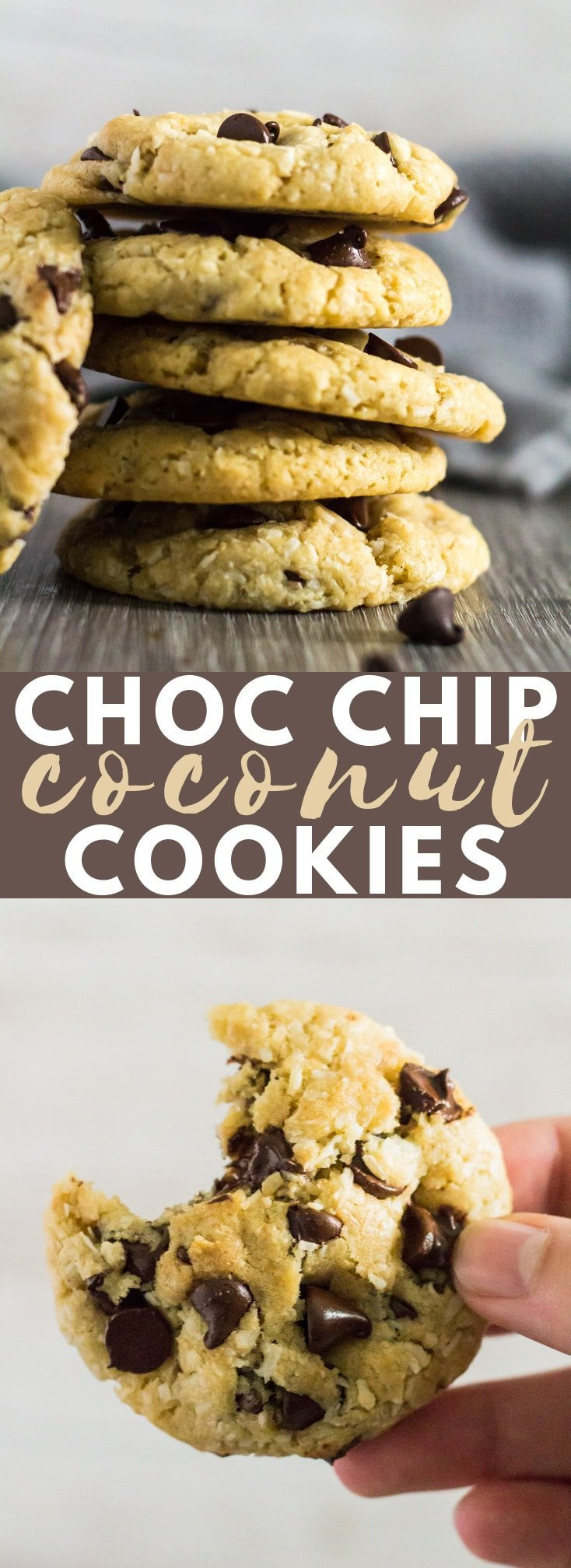 Coconut Chocolate Chip Cookies - Deliciously thick and chewy cookies that are loaded with desiccated coconut and and chocolate chips. These are the PERFECT cookies for coconut lovers! #coconut #cookies #chocolatechipcookies #recipe