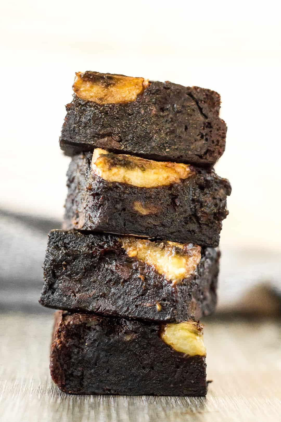 A stack of Fudgy Banana Brownies.