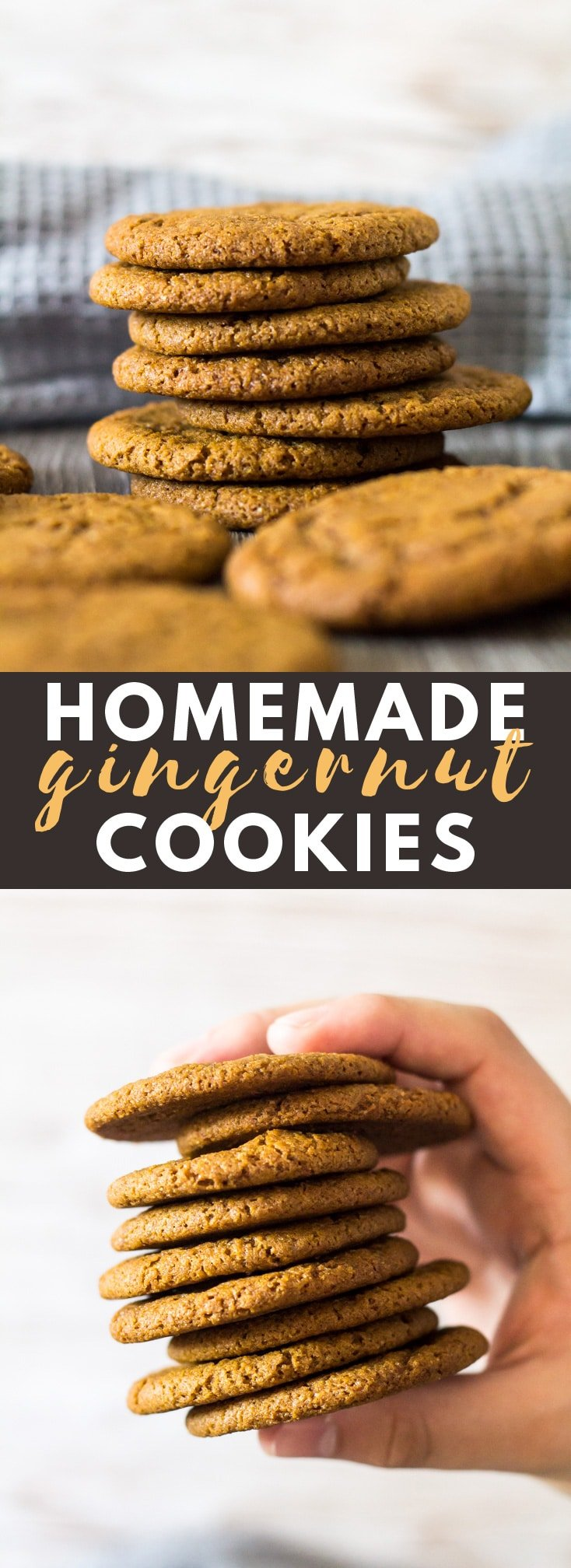 Homemade Gingernut Cookies - Deliciously crunchy and chewy ginger-spiced cookies that are better than store-bought. Perfect for dunking in tea or coffee!