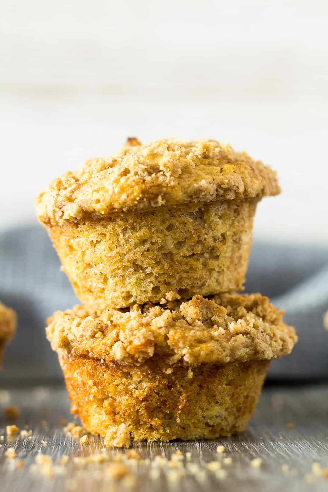 A stack of two Banana Crumb Muffins.