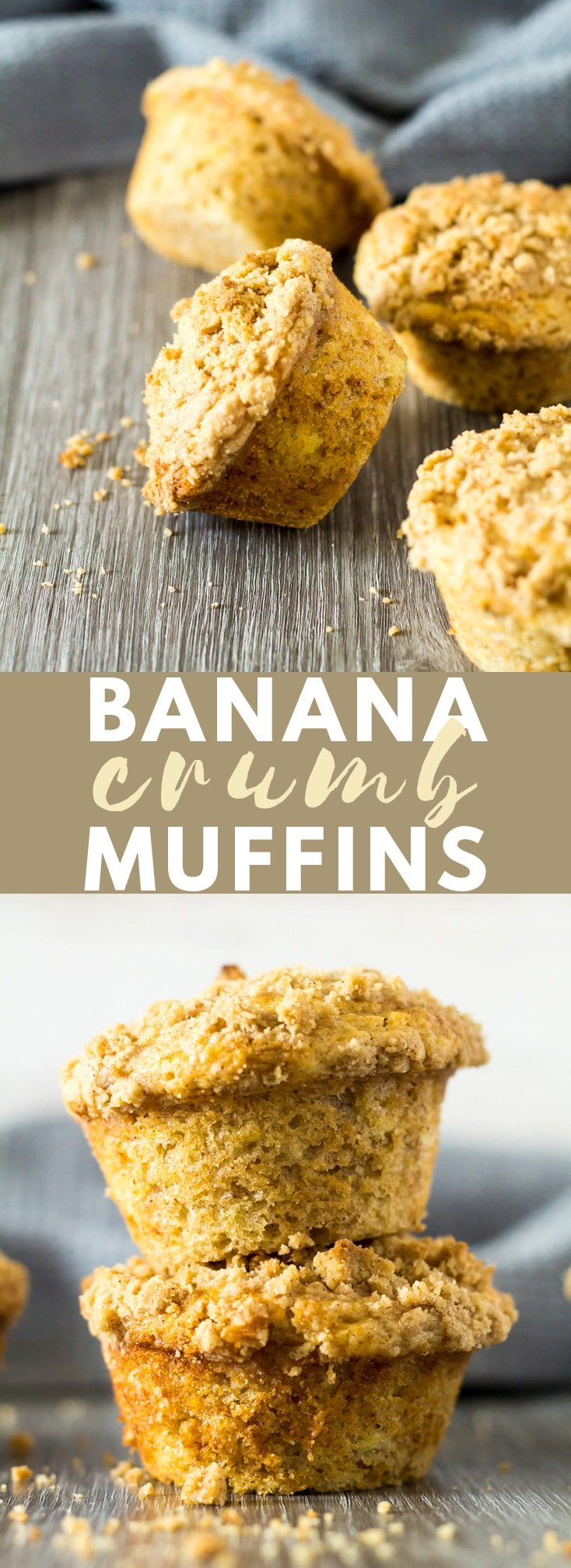 Banana Crumb Muffins - Deliciously moist and fluffy cinnamon-spiced muffins that are loaded with banana flavour, and topped with a buttery crumb. Perfect for an indulgent breakfast or snack!
