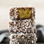 A stack of Homemade Lamingtons.