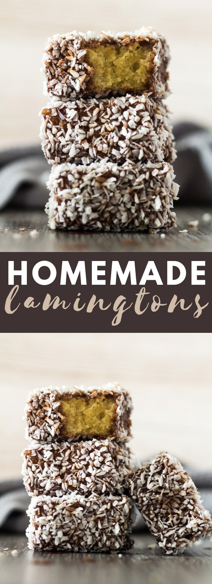 Homemade Lamingtons - Deliciously moist and fluffy squares of sponge cake coated in a layer of chocolate, and rolled in desiccated coconut! #cake #coconut #lamingtons #chocolate #recipe
