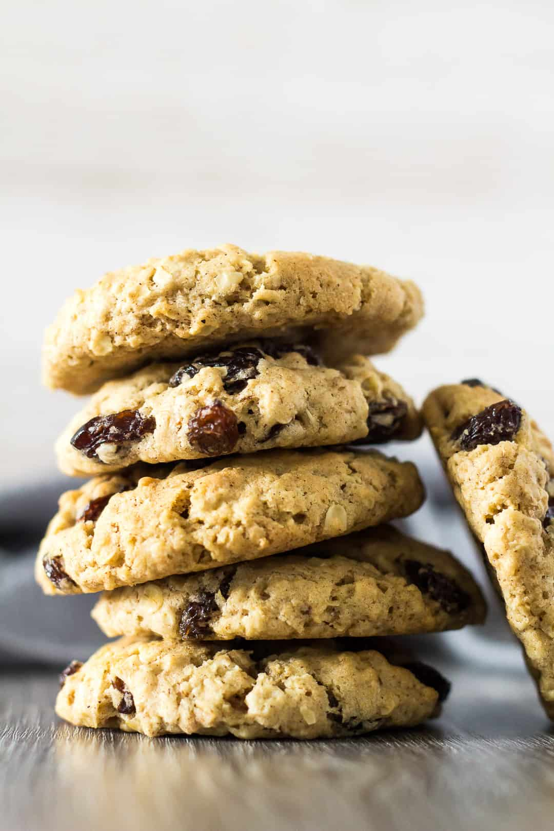 A stack of Oatmeal Raisin Cookies.