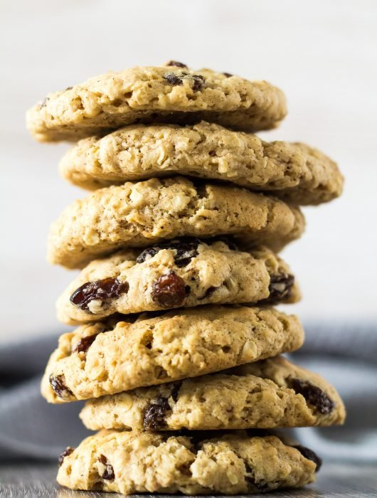 A tall stack of Oatmeal Raisin Cookies.
