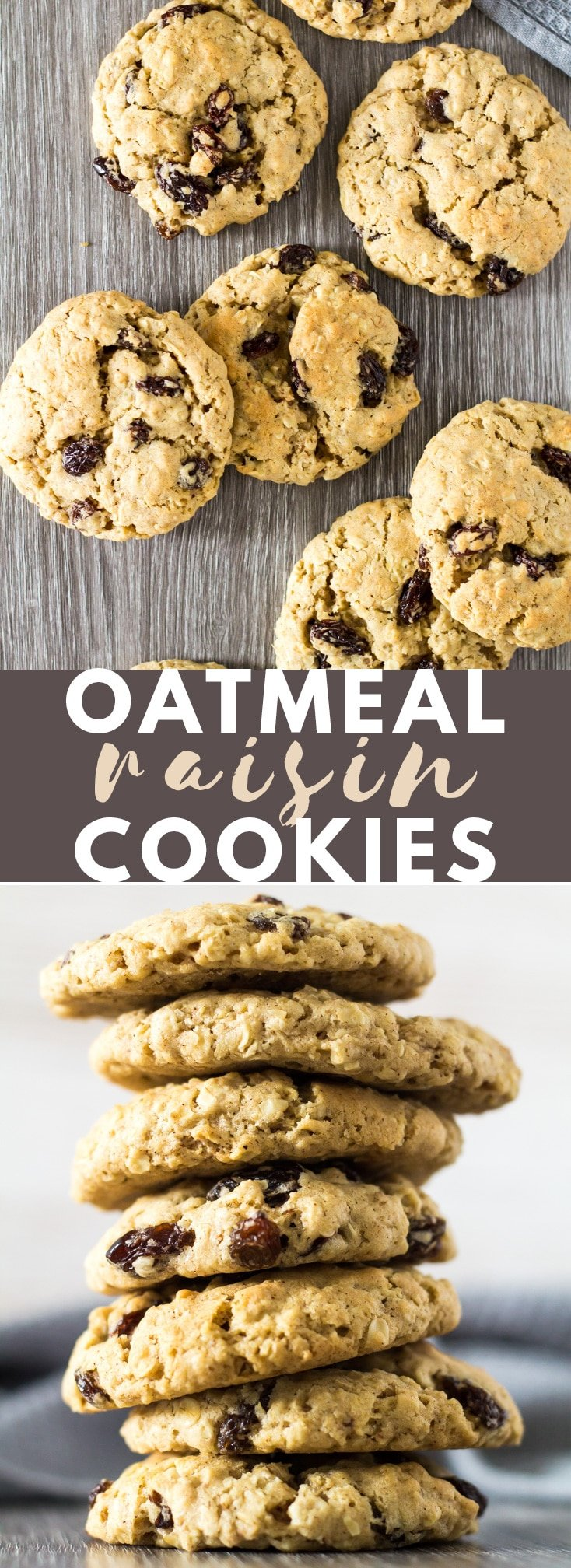 Oatmeal Raisin Cookies - Deliciously thick and chewy oatmeal cookies that are perfectly spiced with cinnamon and nutmeg, and loaded with raisins!