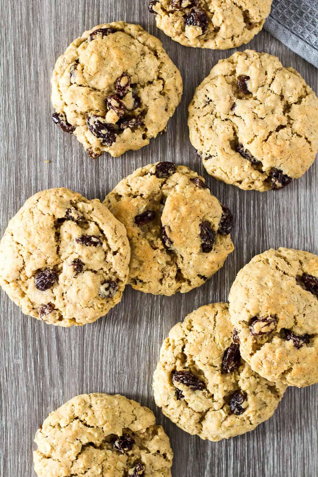 An overhead view of Oatmeal Raisin Cookies.