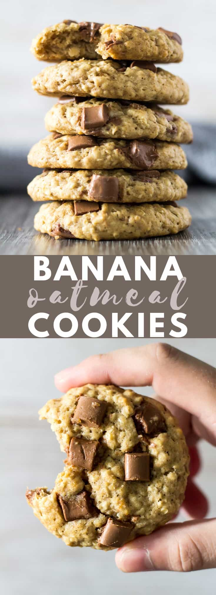 Chocolate Chip Banana Oatmeal Cookies - Deliciously thick and chewy oatmeal cookies that are loaded with banana flavour, and studded with chocolate chips!