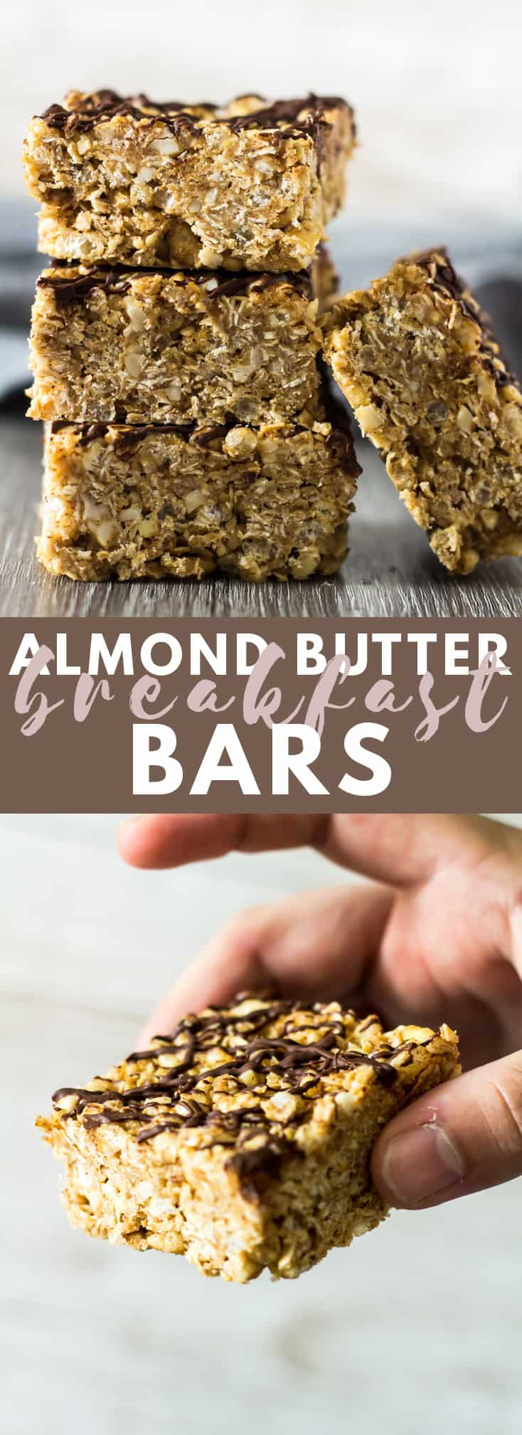 No-Bake Almond Butter Breakfast Bars - Deliciously thick and chewy no-bake granola bars that are loaded with almond butter flavour, and drizzled with dark chocolate!