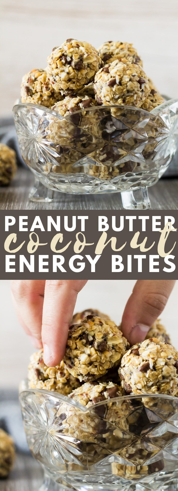 No-Bake Peanut Butter Coconut Energy Bites - Deliciously creamy and fudgy energy bites bursting with peanut butter flavour, and loaded with chocolate chips. A healthy protein-packed breakfast or snack!