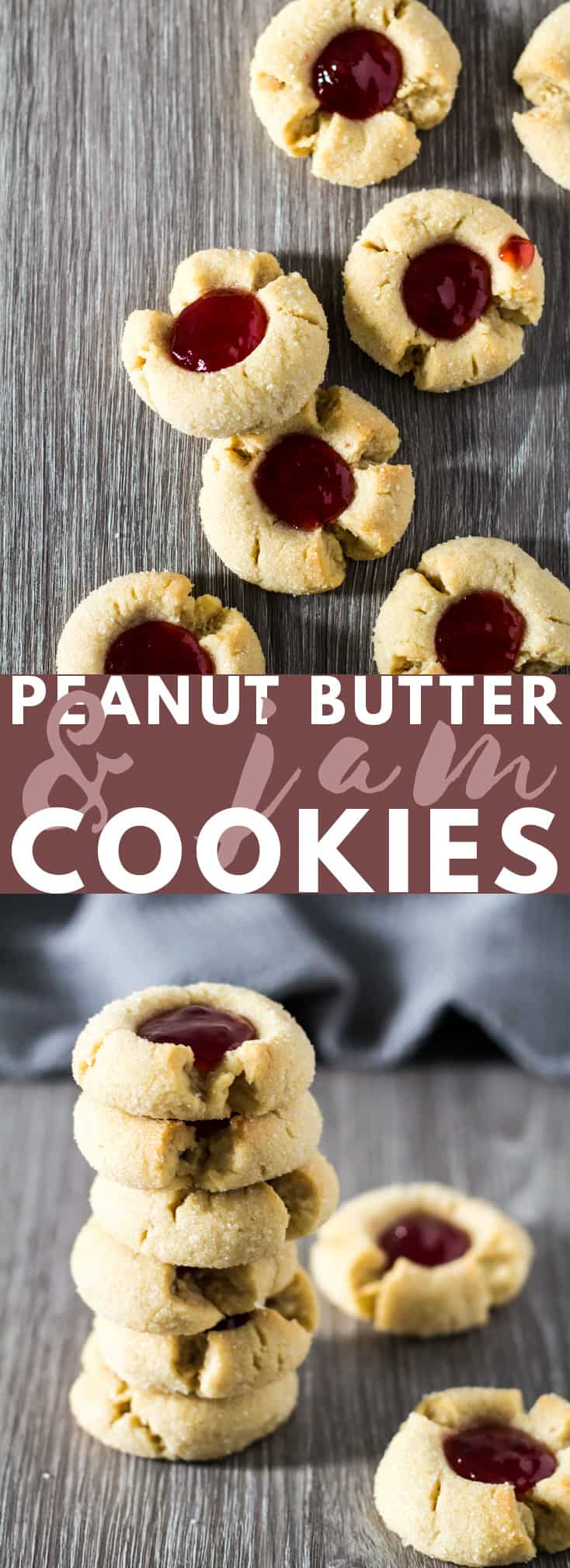 Peanut Butter & Jam Thumbprint Cookies - Deliciously soft and crispy thumbprint cookies loaded with peanut butter and filled with raspberry jam. The perfect cookies for PB&J lovers!