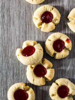 An overhead view of Peanut Butter & Jam Thumbprint Cookies.