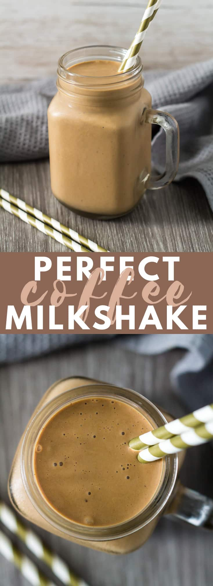 Perfect Coffee Milkshake - This milkshake is deliciously thick, loaded with flavour, and is made with only 4 simple ingredients. The BEST coffee milkshake you'll ever try! #coffee #milkshake #recipe