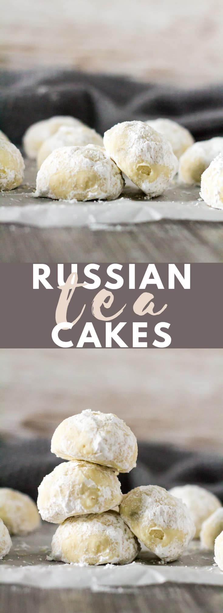 Russian Tea Cakes - Deliciously soft, buttery, melt-in-your-mouth cookies that are coated in icing sugar. They pair perfectly with a hot cup of tea or coffee!