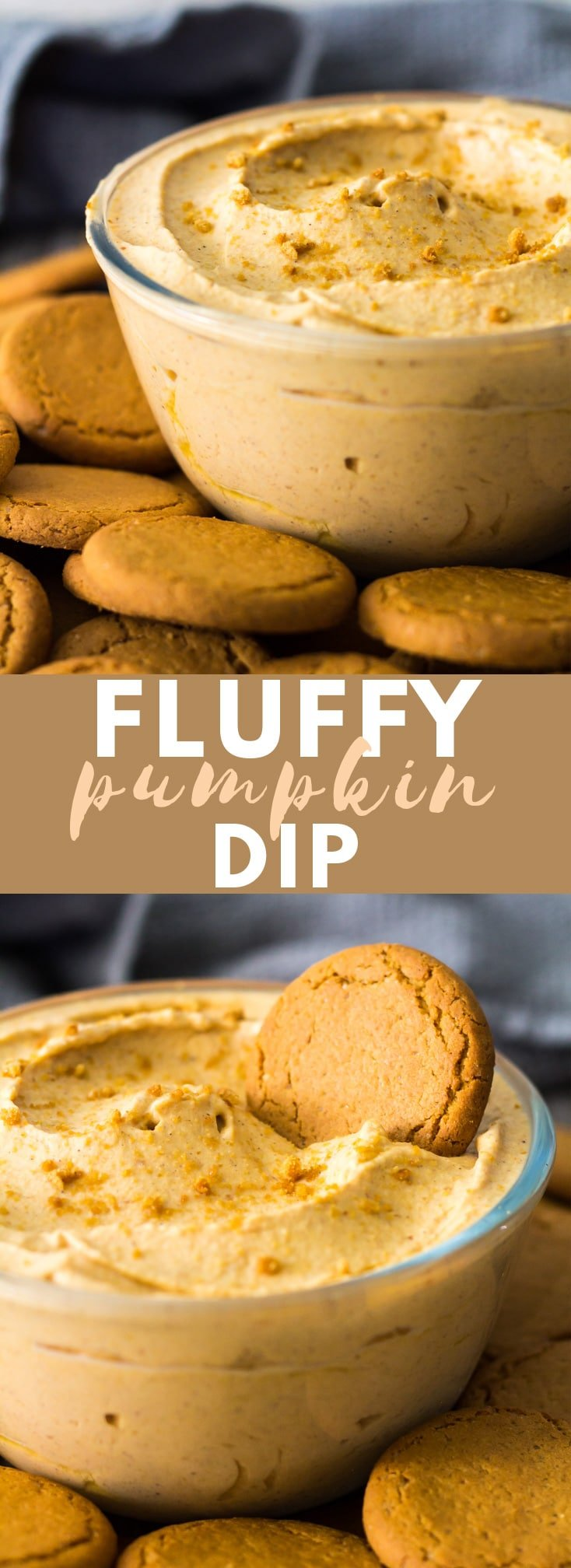 Fluffy Pumpkin Dip - Deliciously light and fluffy whipped pumpkin dip that is loaded with warm spices. Perfect for serving at parties with apple slices, crackers, or cookies!