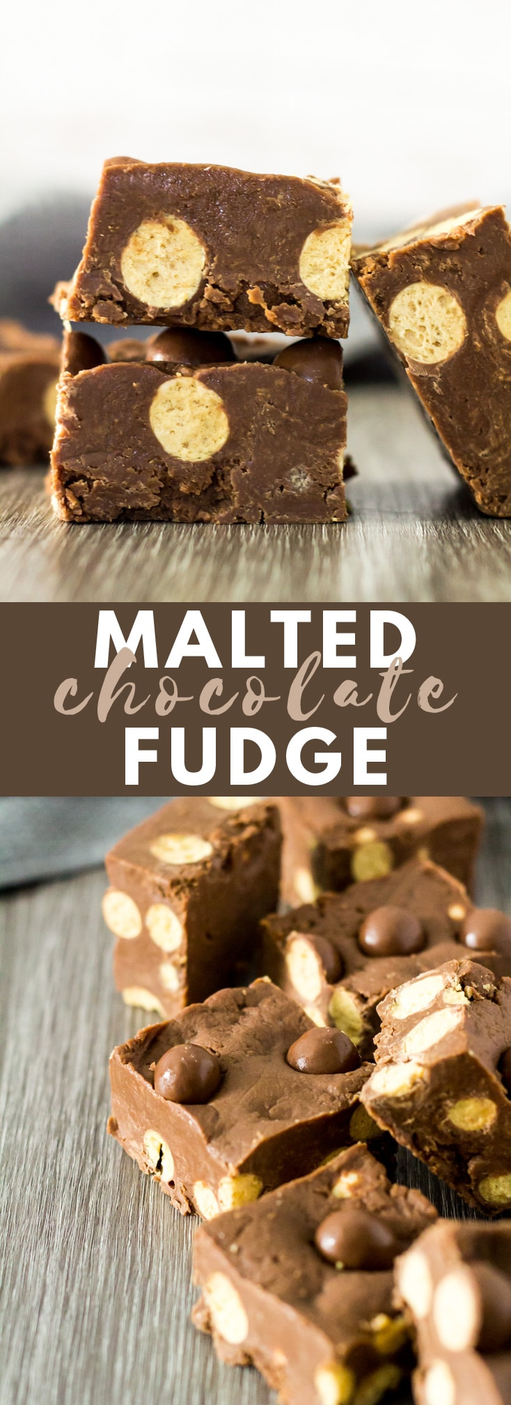 Malted Chocolate Fudge - Deliciously thick and creamy chocolate fudge that is flavoured with malted milk powder, loaded with Maltesers, and only requires 5 simple ingredients!