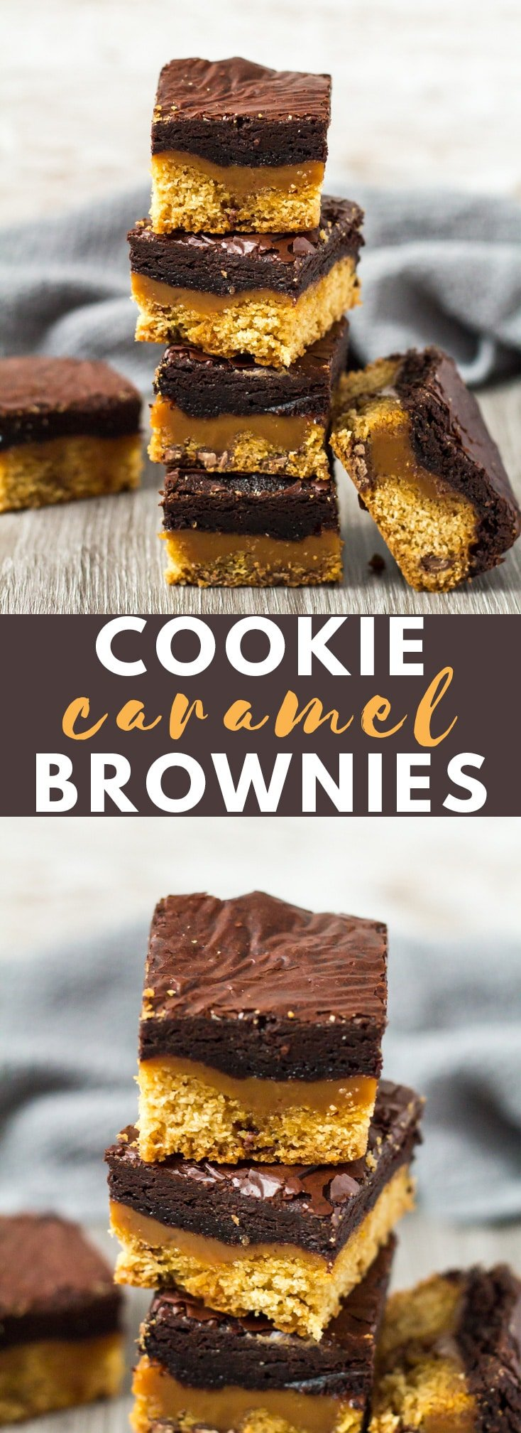 Chocolate Chip Cookie Caramel Brownies - A deliciously thick and chewy chocolate chip cookie layer that is topped with gooey caramel, and finished off with a layer of fudgy brownie!