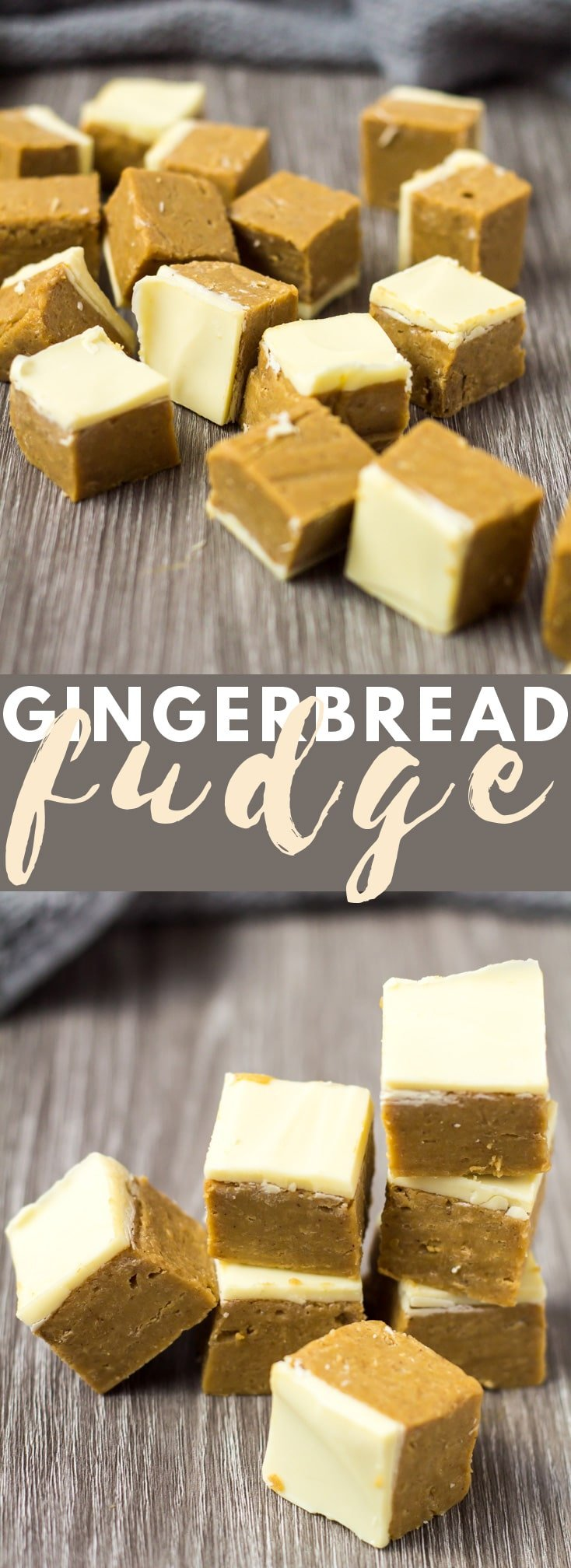 Gingerbread Fudge - Deliciously creamy gingerbread fudge that is made in the microwave, loaded with flavour, and finished off with a white chocolate topping!