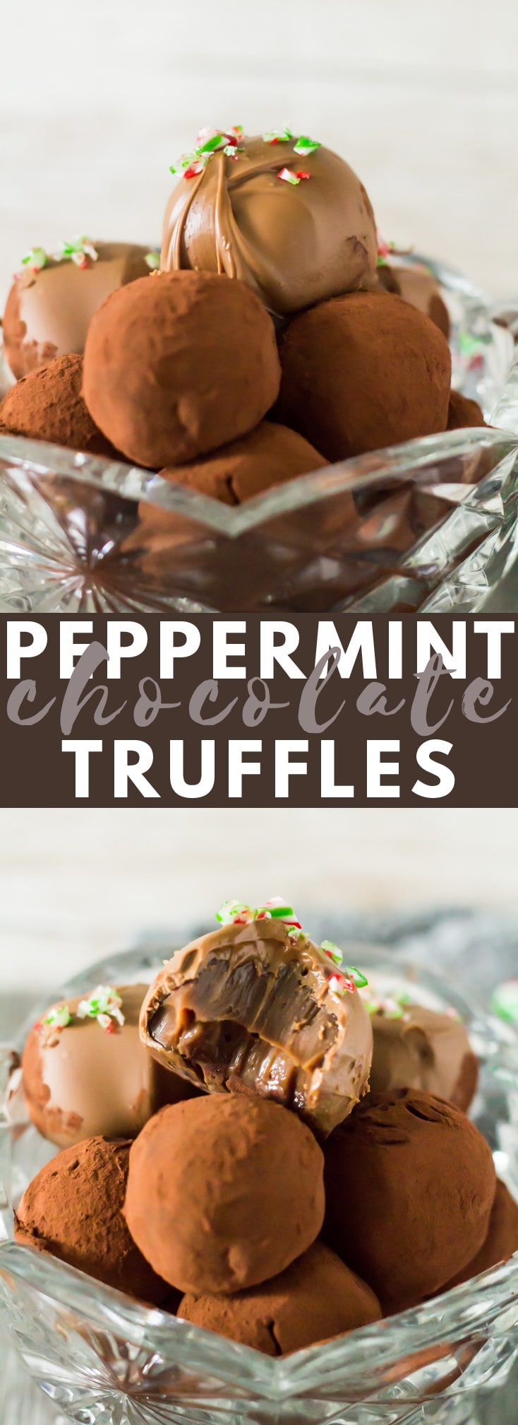 Peppermint Chocolate Truffles - Deliciously indulgent peppermint-infused chocolate truffles that are easy to make, and are perfect for giving at Christmas time!