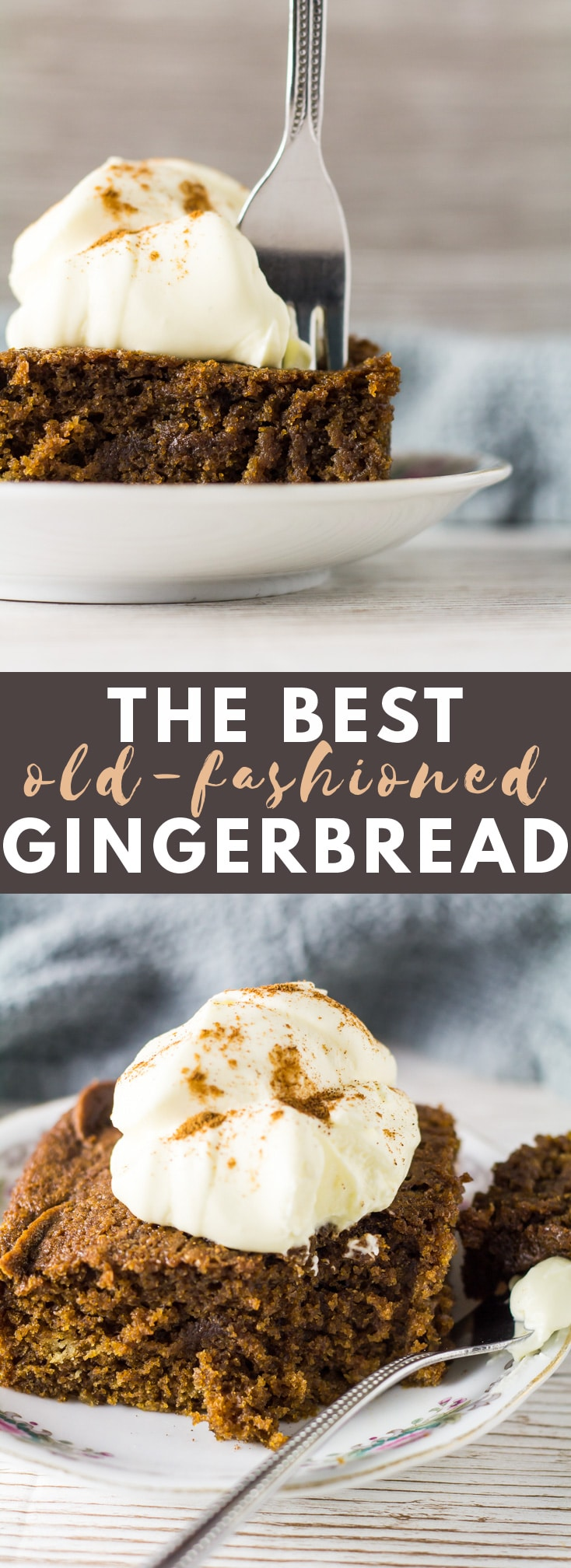 Old-Fashioned Gingerbread - Deliciously moist gingerbread that is loaded with warm, comforting flavours and topped with a dollop of whipped cream. The BEST old-fashioned gingerbread!