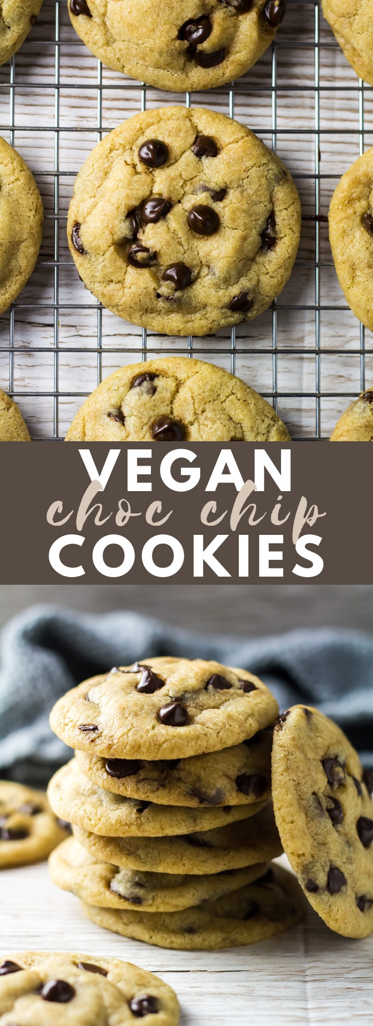 Vegan Chocolate Chip Cookies - Deliciously thick, soft and chewy chocolate chip cookies that are super easy to make, and are vegan-friendly!