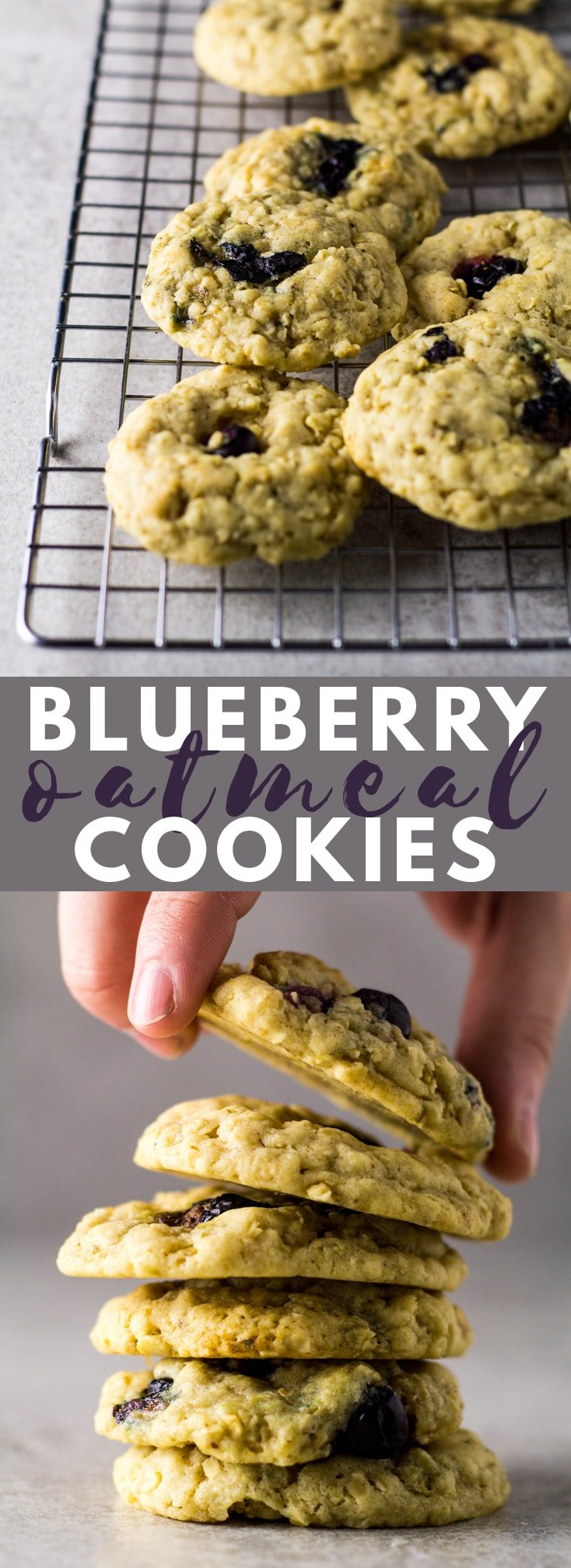 Blueberry Oatmeal Cookies - Deliciously thick, soft, and chewy oatmeal cookies that are perfectly spiced and stuffed full of fresh blueberries!