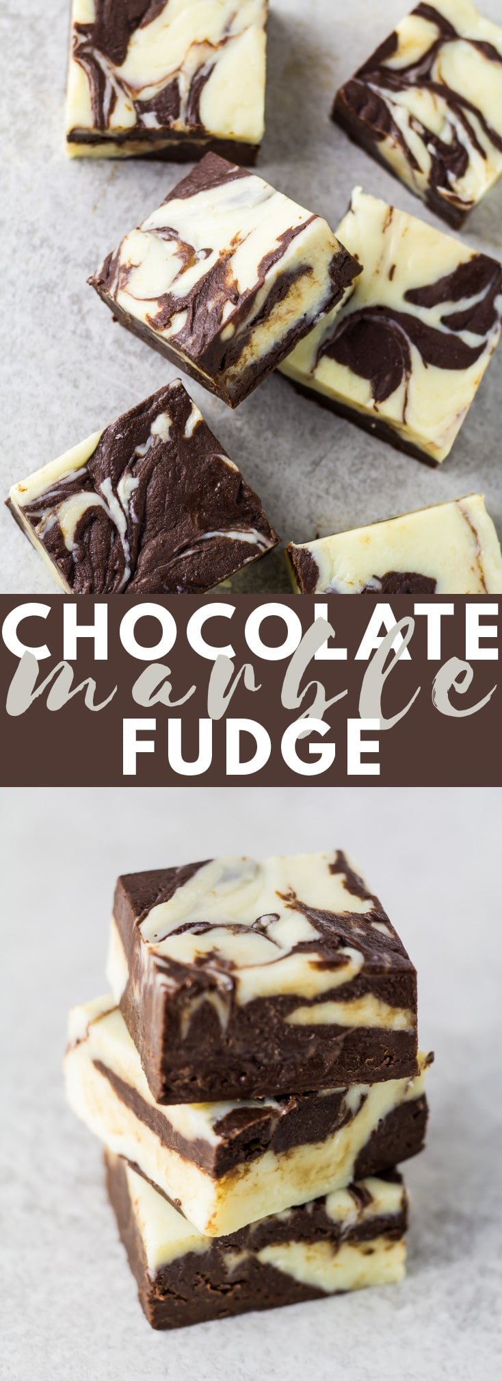 Chocolate Marble Fudge - A deliciously thick and creamy fudge that uses dark chocolate and white chocolate to create a beautiful marble effect!