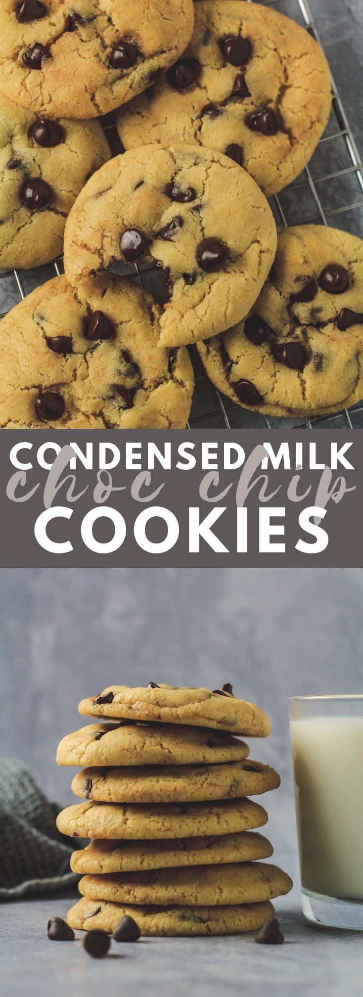 Condensed Milk Chocolate Chip Cookies- Incredibly thick, soft and chewy cookies that are made with sweetened condensed milk, and stuffed full of chocolate chips!