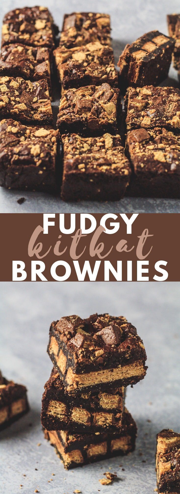 Fudgy KitKat Brownies - Deliciously thick and fudgy chocolate brownies that are stuffed with whole KitKats, and generously topped with broken KitKats! #brownies