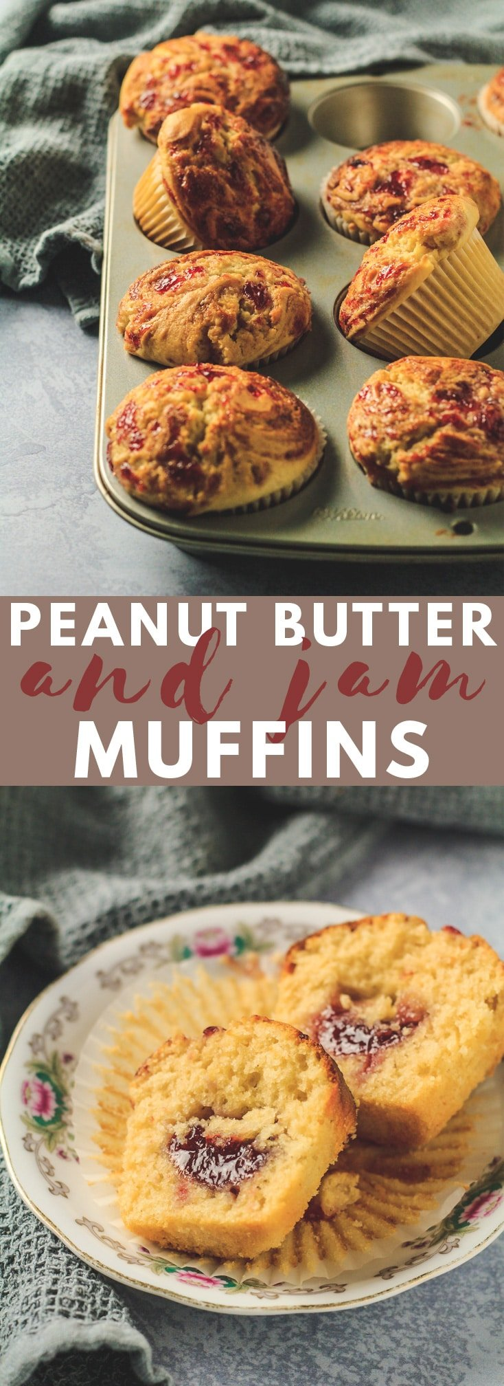 Peanut Butter & Jam Muffins - Deliciously moist and fluffy peanut butter muffins that are loaded with flavour, and filled and swirled with strawberry jam! #peanutbutter #muffinrecipes