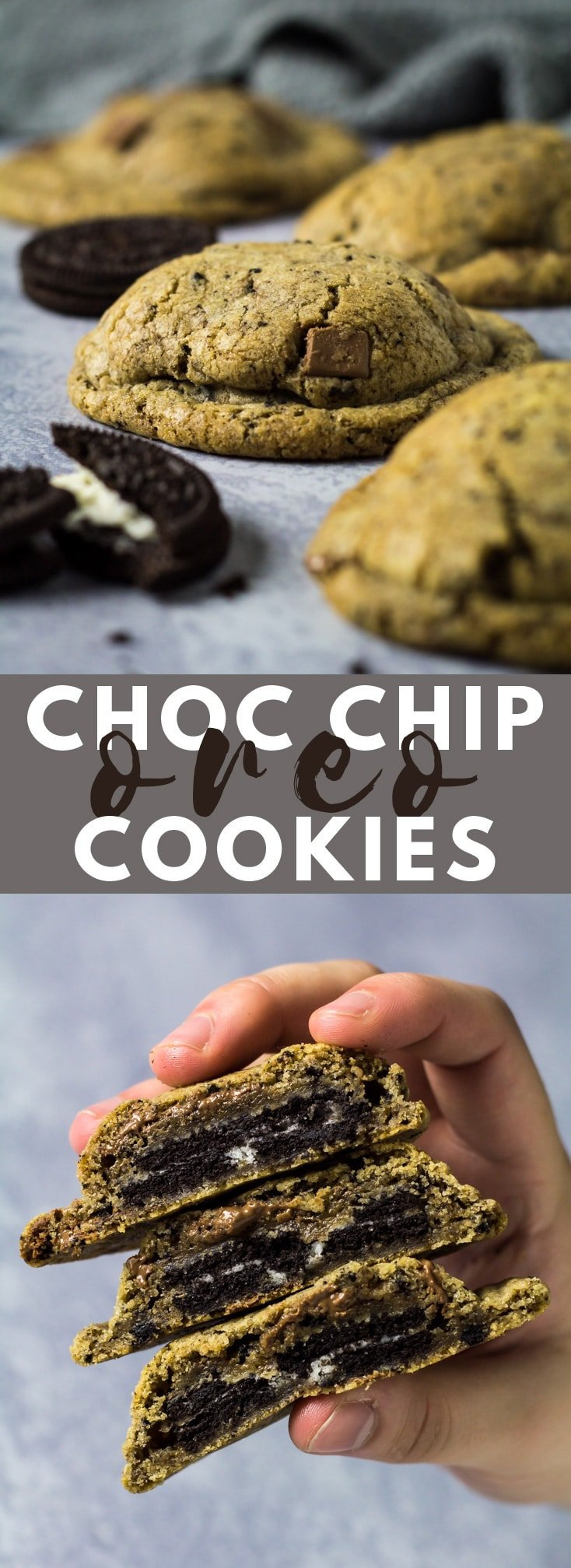 Chocolate Chip Oreo Cookies - Deliciously thick and chewy chocolate chip cookies that are loaded with Oreo crumbs, and stuffed with whole Oreos! #cookies #chocolatechipcookies #cookierecipes