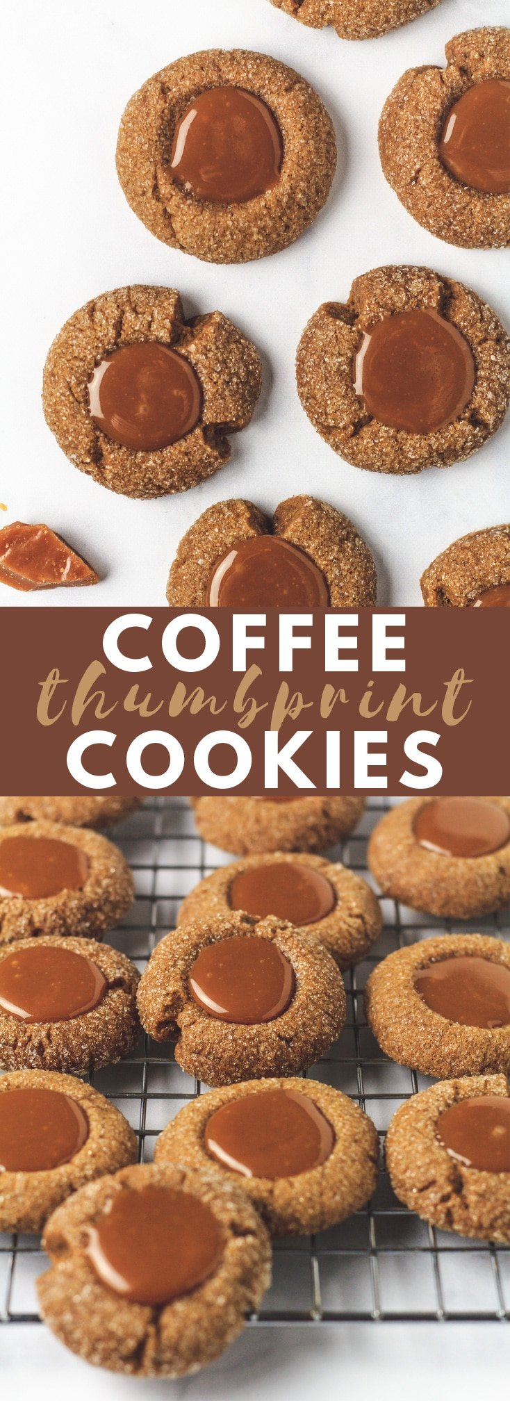 Coffee Thumbprint Cookies - Crispy on the outside and soft and chewy on the inside, these thumbprint cookies are perfectly infused with coffee, and filled with a caramel centre!