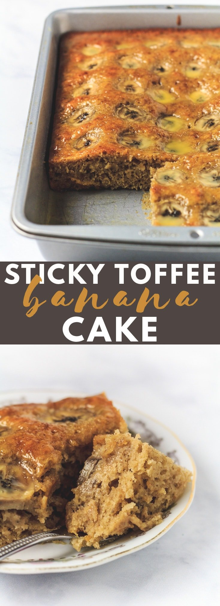 Sticky Toffee Banana Cake - A deliciously moist and fluffy cake that is loaded with banana flavour, and topped with a sticky toffee glaze and banana slices! #bananacake