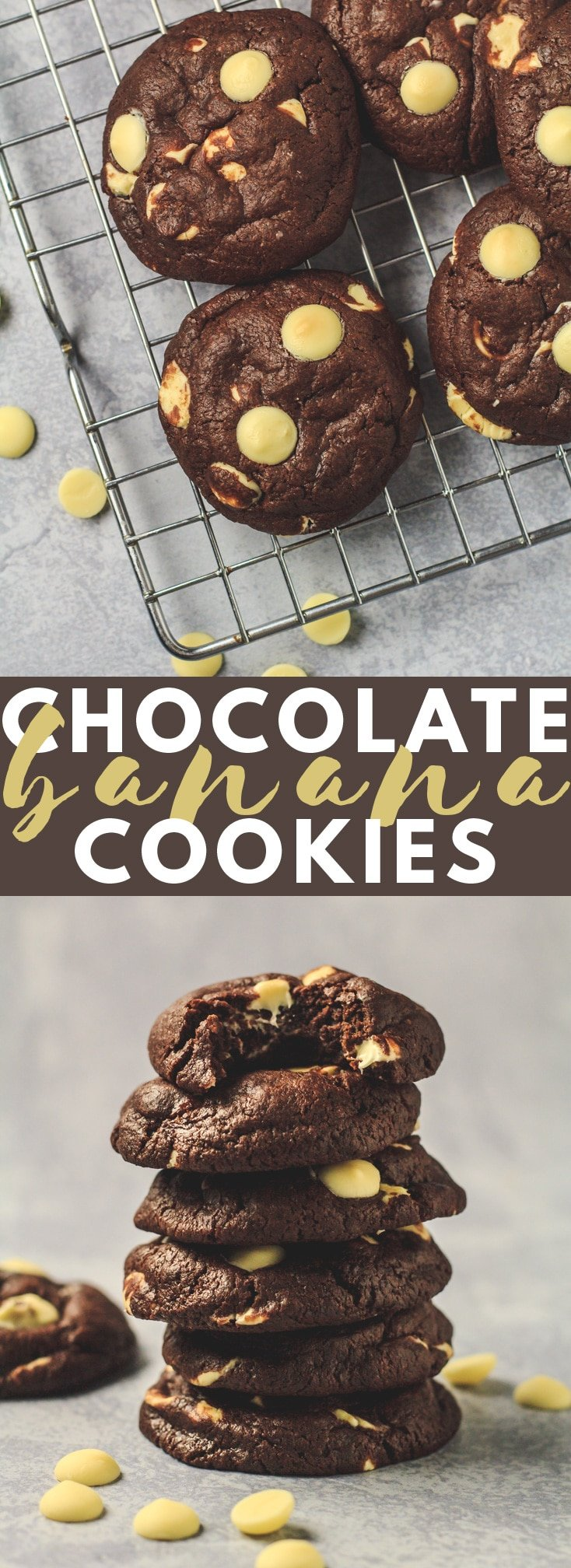 Double Chocolate Banana Cookies - Deliciously thick, soft, and fudgy chocolate cookies that are loaded with banana flavour, and stuffed full of white chocolate chips!