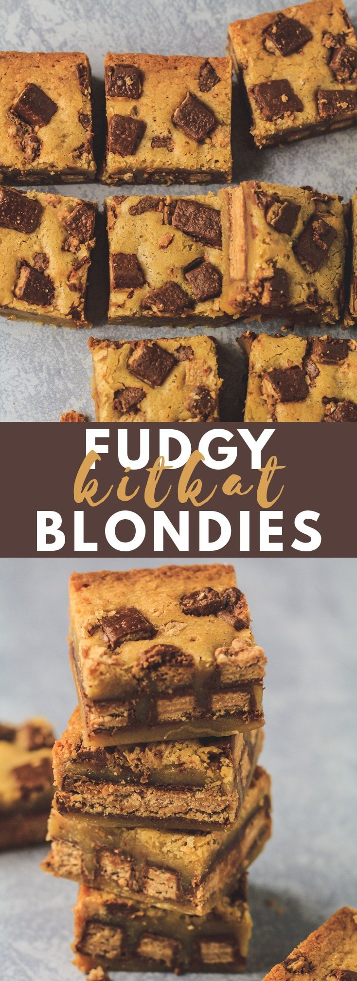 Fudgy KitKat Blondies - Deliciously thick and fudgy blondies that are stuffed with whole KitKats. The ULTIMATE blondie recipe!