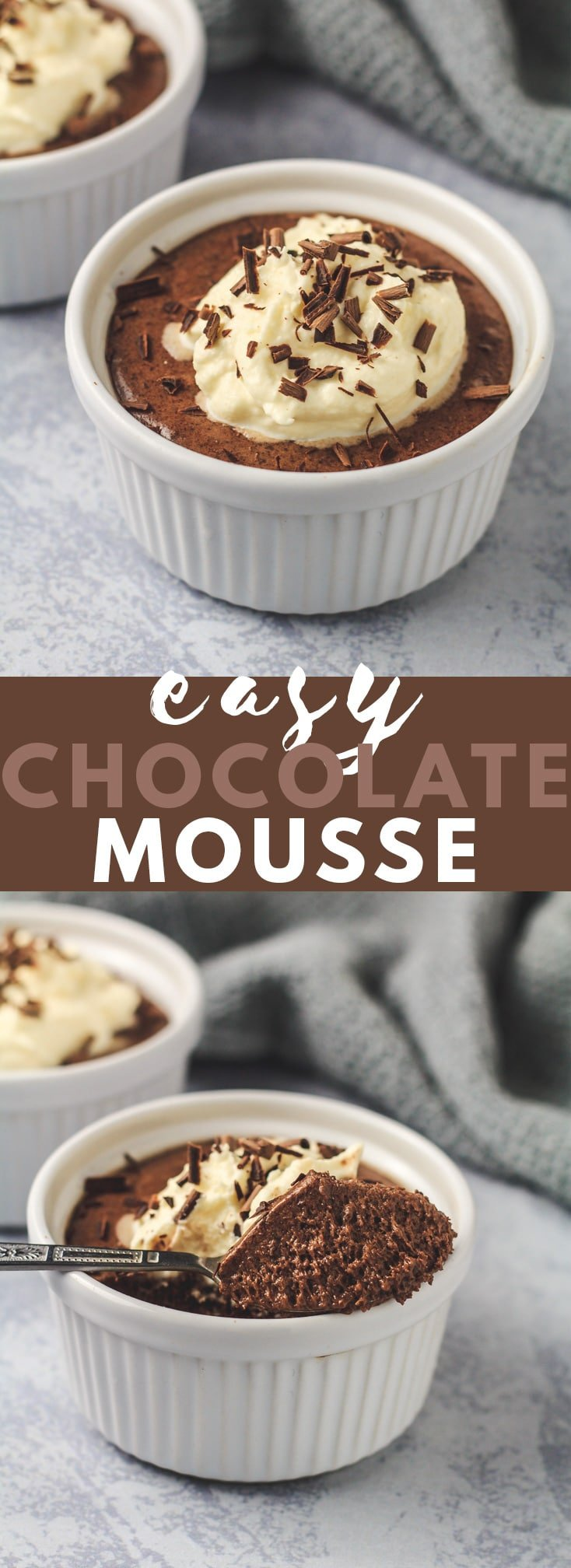 Easy Chocolate Mousse - A deliciously rich and creamy chocolate mousse that is also light and fluffy, and big on flavour. The most indulgent no-bake chocolate dessert!