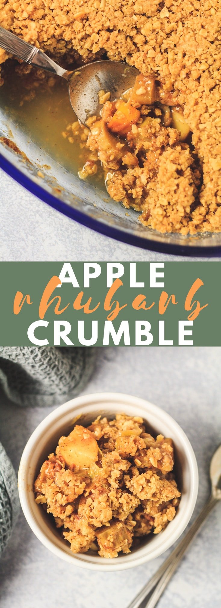 Apple and Rhubarb Crumble - A deliciously sweet and perfectly spiced apple and rhubarb filling that is topped with a generous amount of buttery crumble. This Apple and Rhubarb Crumble makes a perfect winter dessert served warm with custard or ice cream! #applecrumble #rhubarbcrumble #crumble #fallrecipes #winterrecipes