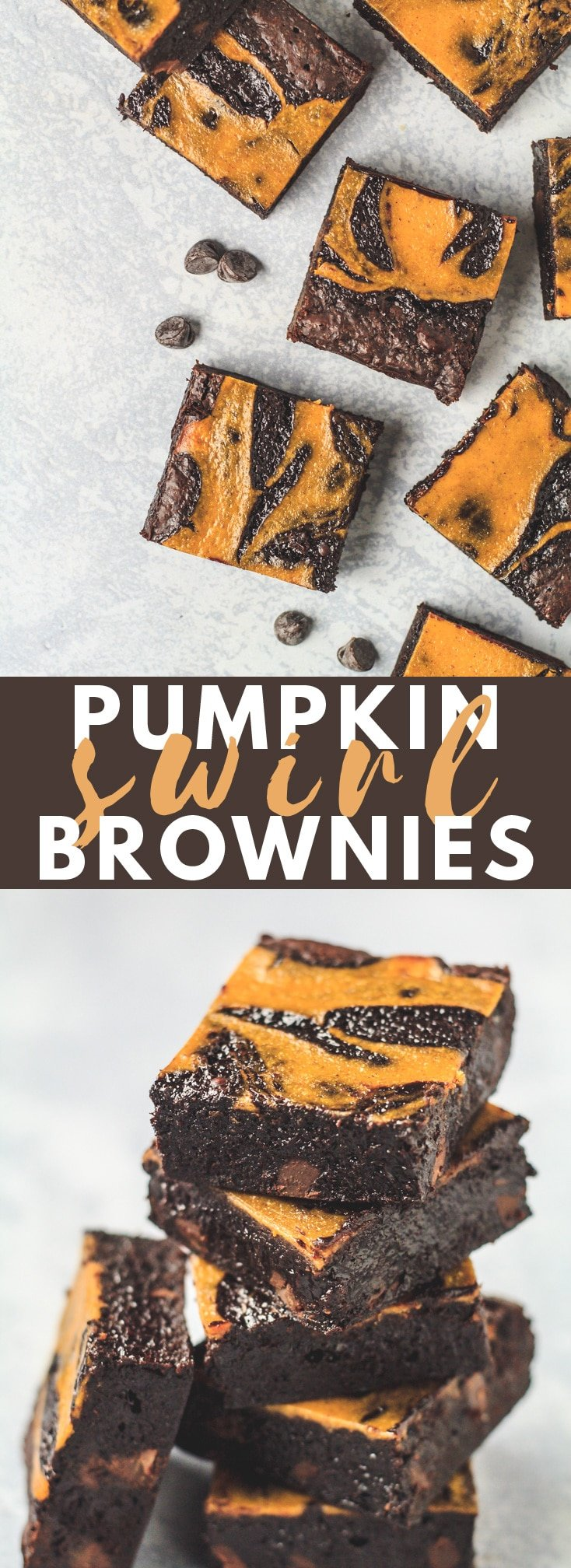 Pumpkin Swirl Brownies - Deliciously thick and fudgy chocolate brownies that are topped with a perfectly spiced pumpkin swirl. These are the ULTIMATE brownies to make in autumn/fall time! #pumpkin #chocolate #brownies #fallrecipes