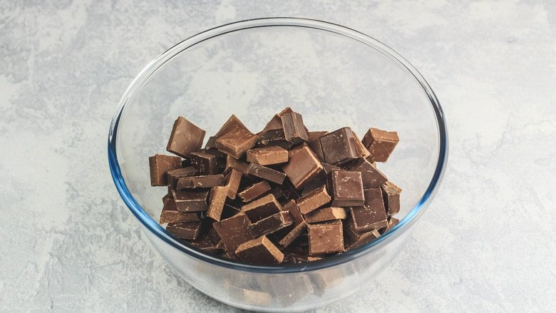 Nutella and chocolate in a bowl ready to be melted