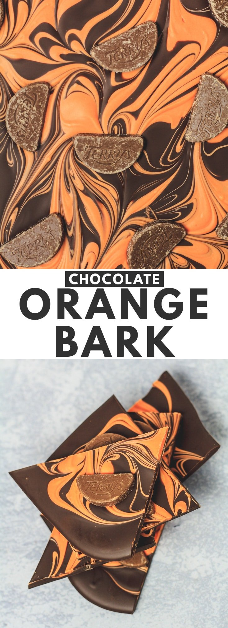 Chocolate Orange Bark - A deliciously creamy orange-infused white chocolate layer swirled into a thick layer of melted dark chocolate. The perfect treat for sharing and gift-giving! #chocolate #orange #chocolatebark #recipe
