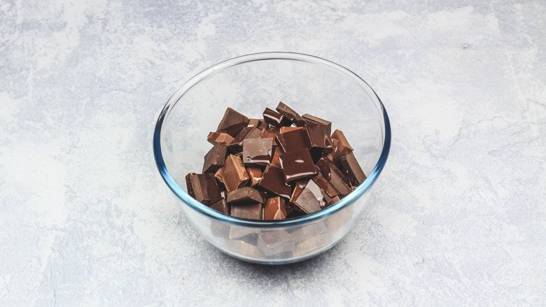 Chocolate in bowl ready to be melted.