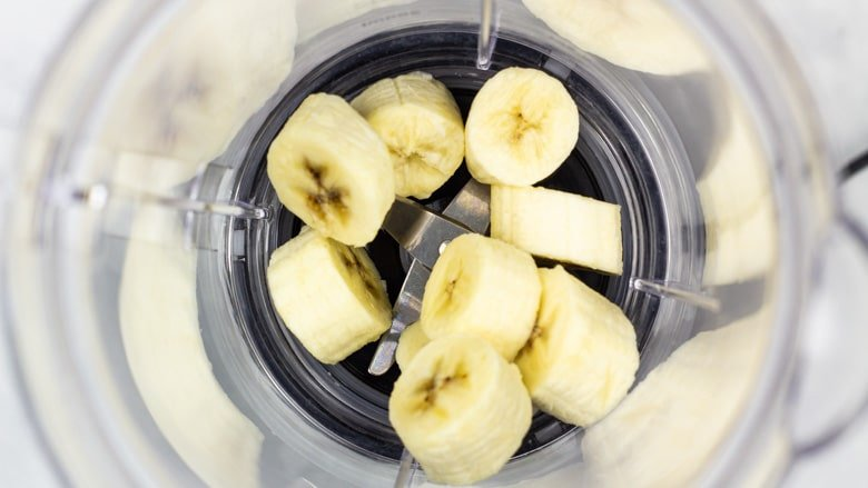 Banana slices in a blender.